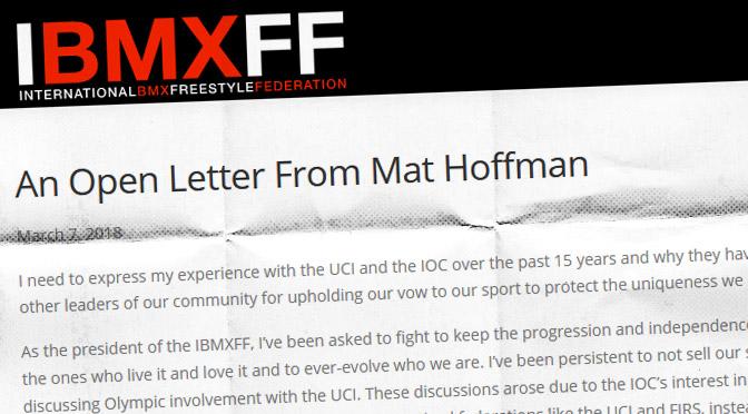 2018 – Lettre ouverte de Mat Hoffman: pourquoi nous devons garder l'UCI hors du BMX